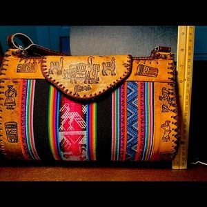 Hand stitched leather and canvas Peruvian purse